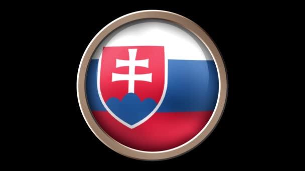 Slovakia flag button isolated on black