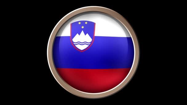 Slovenia flag button isolated on black