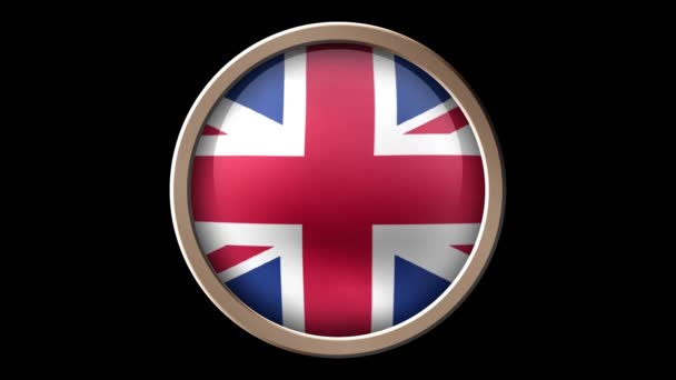 United Kingdom flag button isolated on black