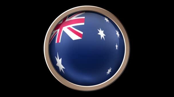 Australia flag button isolated on black. Animated Australia flag on the button. Seamless looping