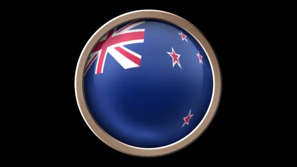 New Zeland flag button isolated on black. Animated New Zeland flag on the button. Seamless looping