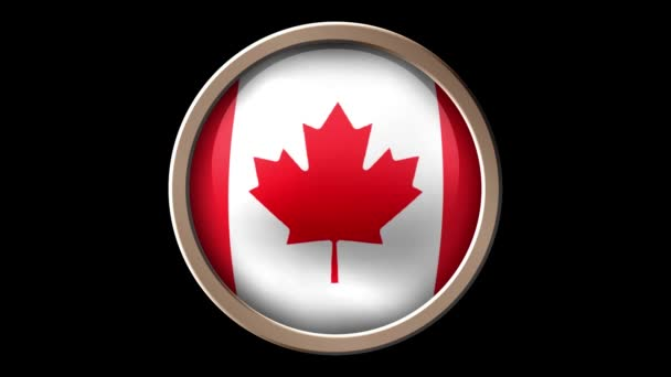 Canada flag button isolated on black. Animated Canada flag on the button. Seamless looping