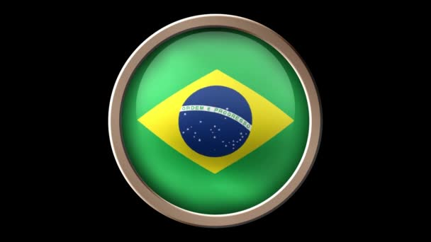 Brazil flag button isolated on black. Animated Brazil flag on the button. Seamless looping