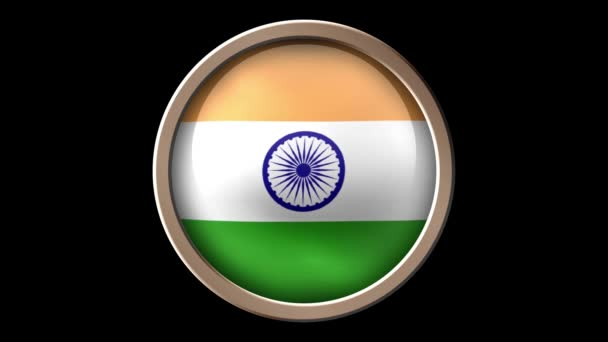 India flag button isolated on black. Animated India flag on the button. Seamless looping