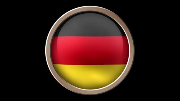 Animated Germany flag on the button isolated on black. Seamless looping