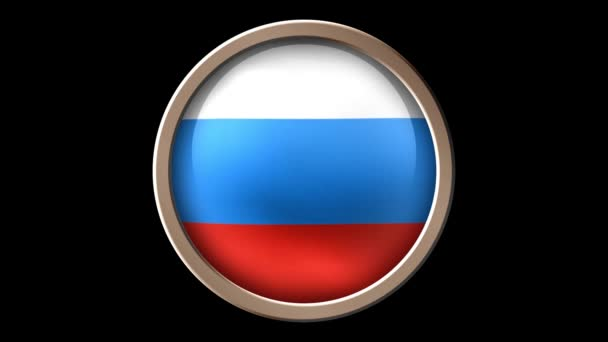 Animated Russian flag on the button isolated on black. Seamless looping