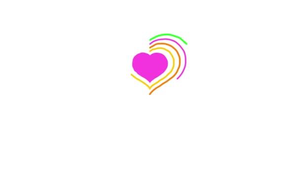 Veselého Valentýna. Barevné srdce výkresu. Tahy jsou nakreslena kolem srdce směrem doprava a doleva. Kroutit animace. 4 k video