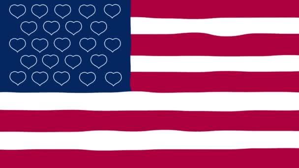 Veselého Valentýna. Vlajka Spojených srdcí lásky. Kroutit animace