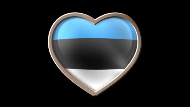 Estonia flag heart isolated on black luma matte. Patriotism
