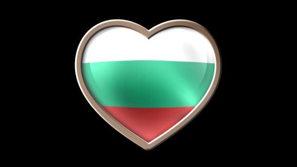 Bulgaria flag heart isolated on black luma matte. Patriotism