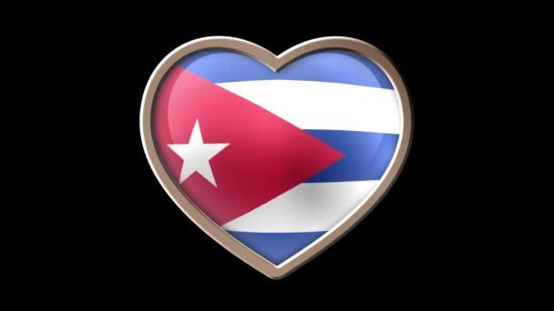 Cuba flag heart isolated on black luma matte. Patriotism