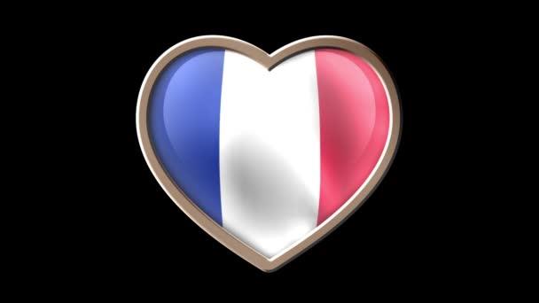 France flag heart isolated on black luma matte. Patriotism