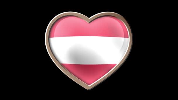 Austria flag heart isolated on black luma matte. Patriotism