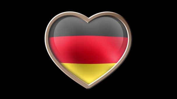 Germany flag heart isolated on black luma matte. Patriotism