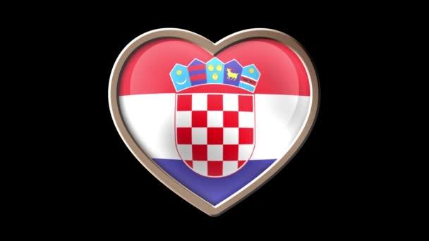 Croatia flag heart isolated on black luma matte. Patriotism
