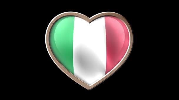 Italy flag heart isolated on black luma matte. Patriotism