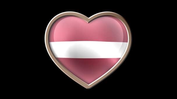 Latvia flag heart isolated on black luma matte. Patriotism