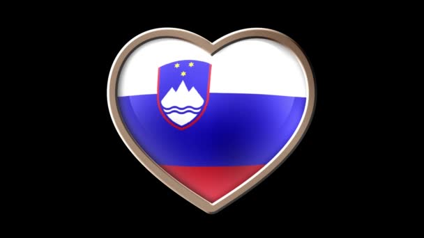 Slovenia flag heart isolated on black luma matte. Patriotism
