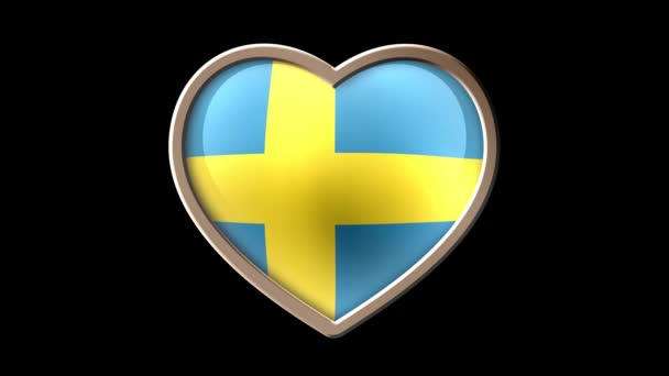 Sweden flag heart isolated on black luma matte. Patriotism. Seamless looping