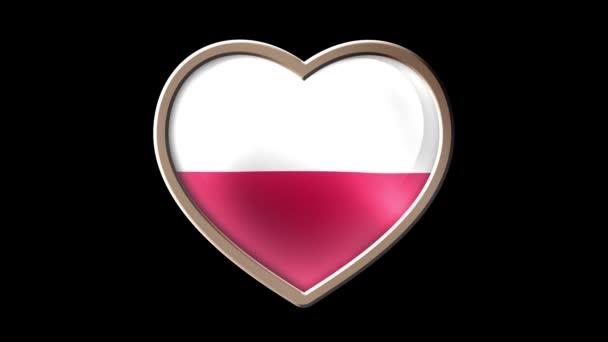 Poland flag heart isolated on black luma matte. Patriotism. Seamless looping