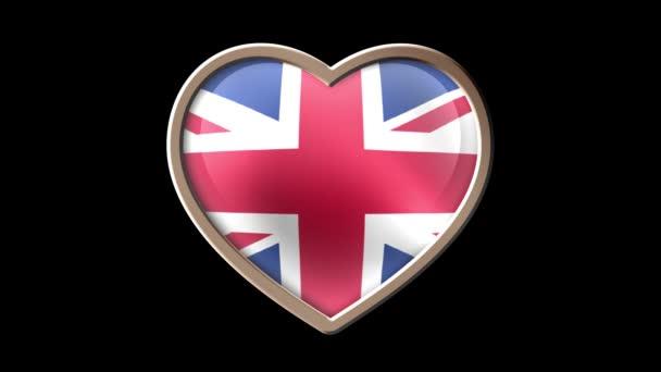 United Kingdom flag heart isolated on black luma matte. Patriotism. Seamless looping