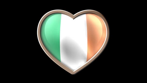Ireland flag heart isolated on black luma matte. Patriotism. Seamless looping