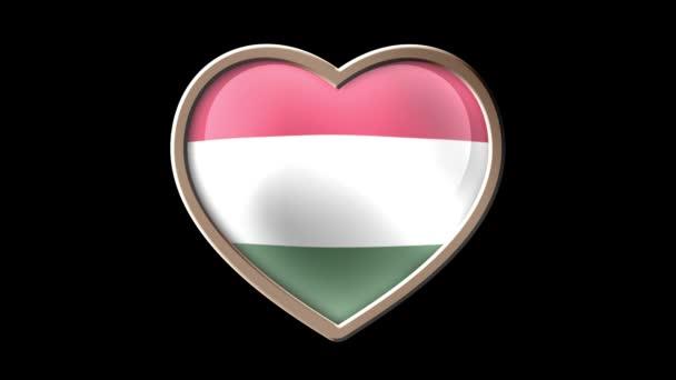 Animated Hungary flag heart isolated on black luma matte. Patriotism. Seamless looping