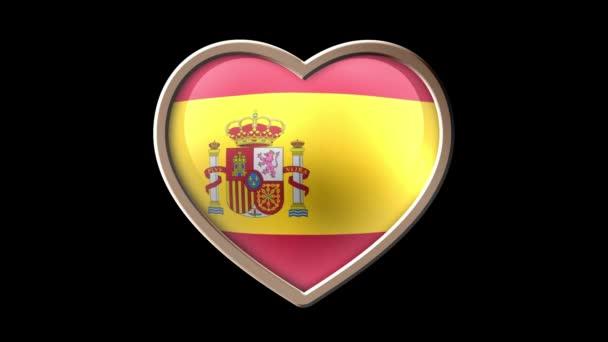 Animated Spain flag heart isolated on black luma matte. Patriotism. Seamless looping