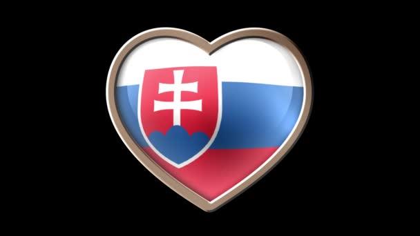 Animated Slovakia flag heart isolated on black luma matte. Patriotism. Seamless looping