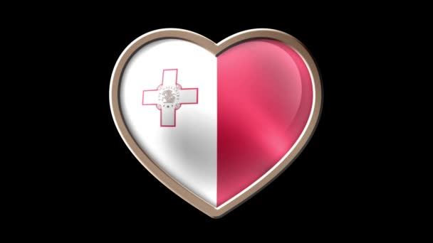 Animated Malta flag heart isolated on black luma matte. Patriotism. Seamless looping
