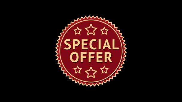 Offerta speciale. Etichetta di stella rotonda animata