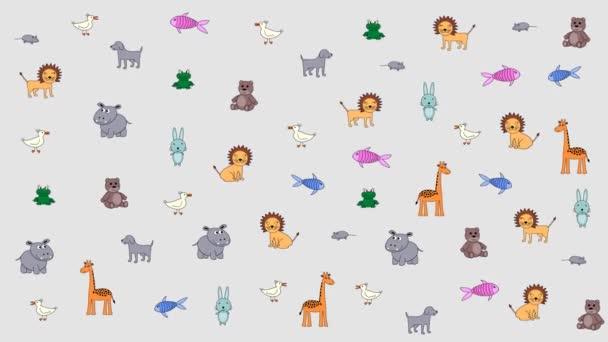 Animált színes állatok, gyerek háttér. Szubsztrátum a címek, képek és egyéb tartalmak. Dizájn elem