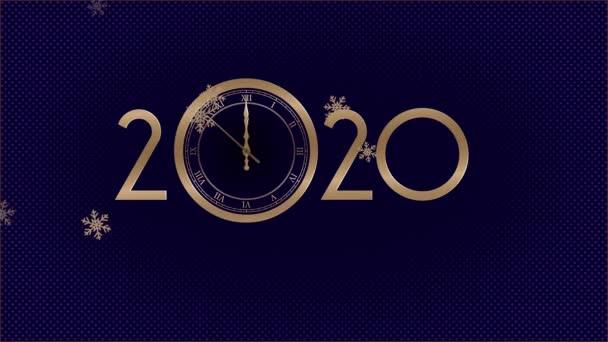 Šťastný nový rok 2020. Posledních 10 sekund až 12 oklock. Sněhové vločky spadli. 4k skladový záběr