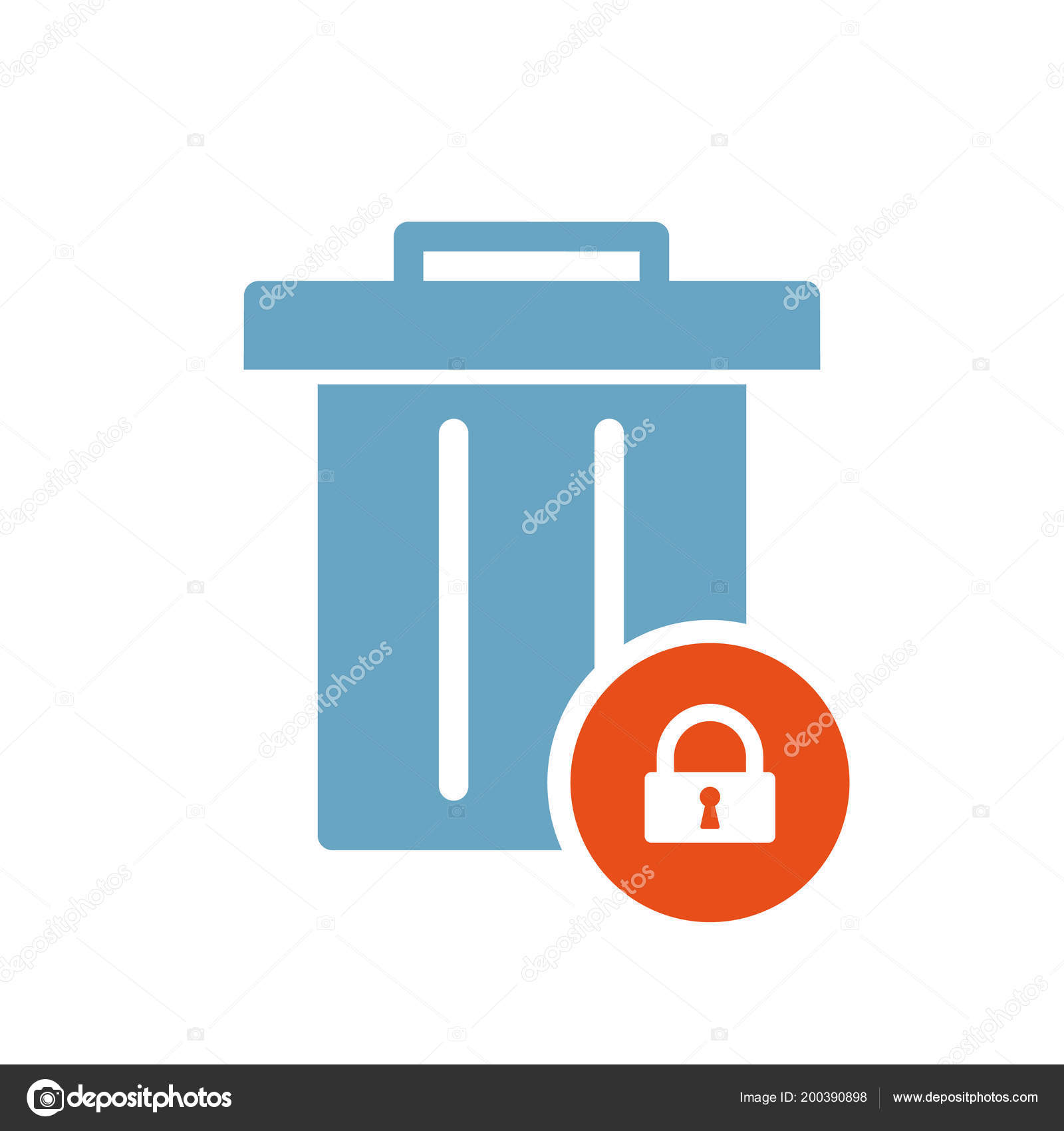 Garbage Icon Tools And Utensils Icon With Padlock Sign Garbage