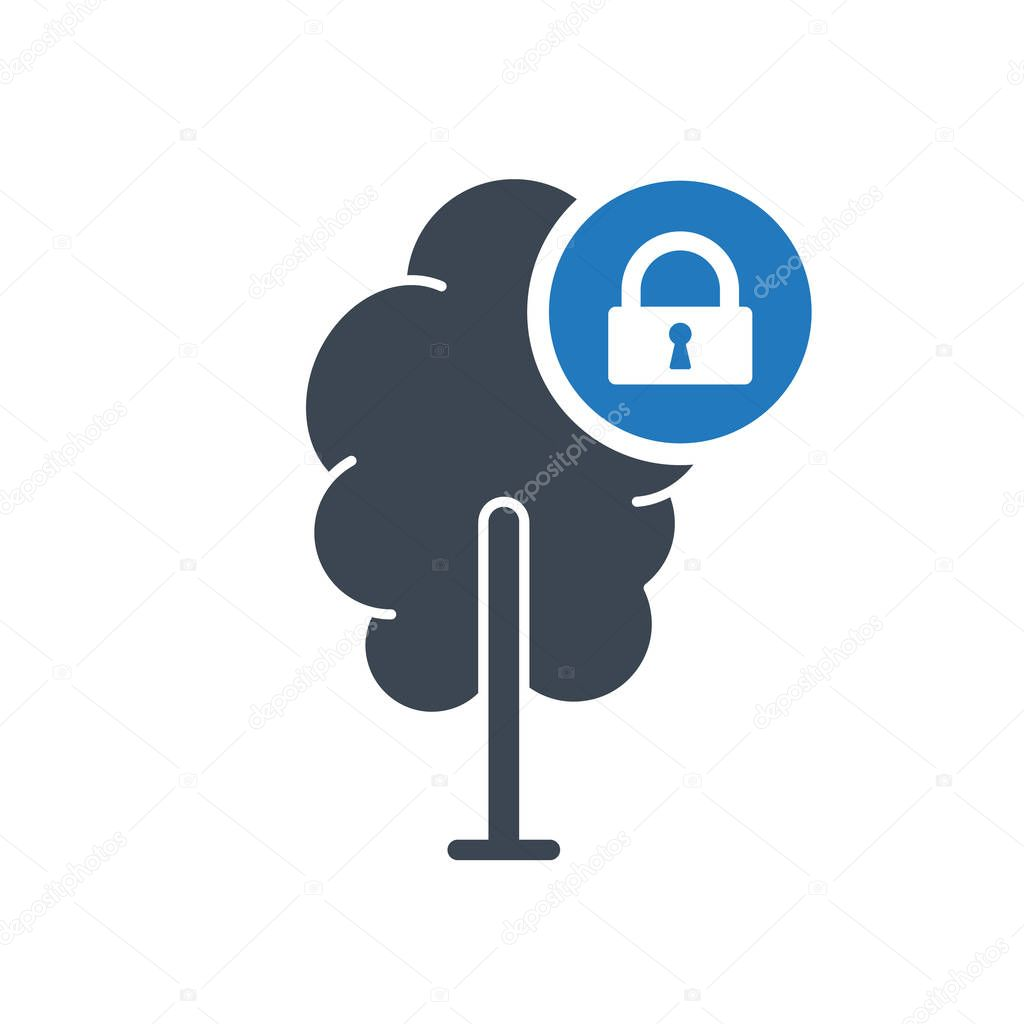 Tree icon, forest, nature, ecology concept icon with padlock sign.