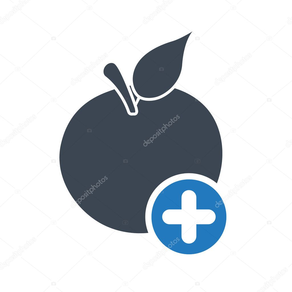 Apple icon, nutrition icon with add sign. Apple icon and new, plus, positive symbol. Vector illustration