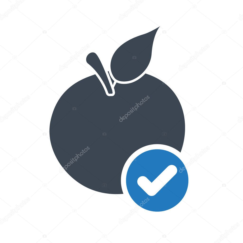 Apple icon, nutrition icon with check sign. Apple icon and approved, confirm, done, tick, completed symbol. Vector illustration