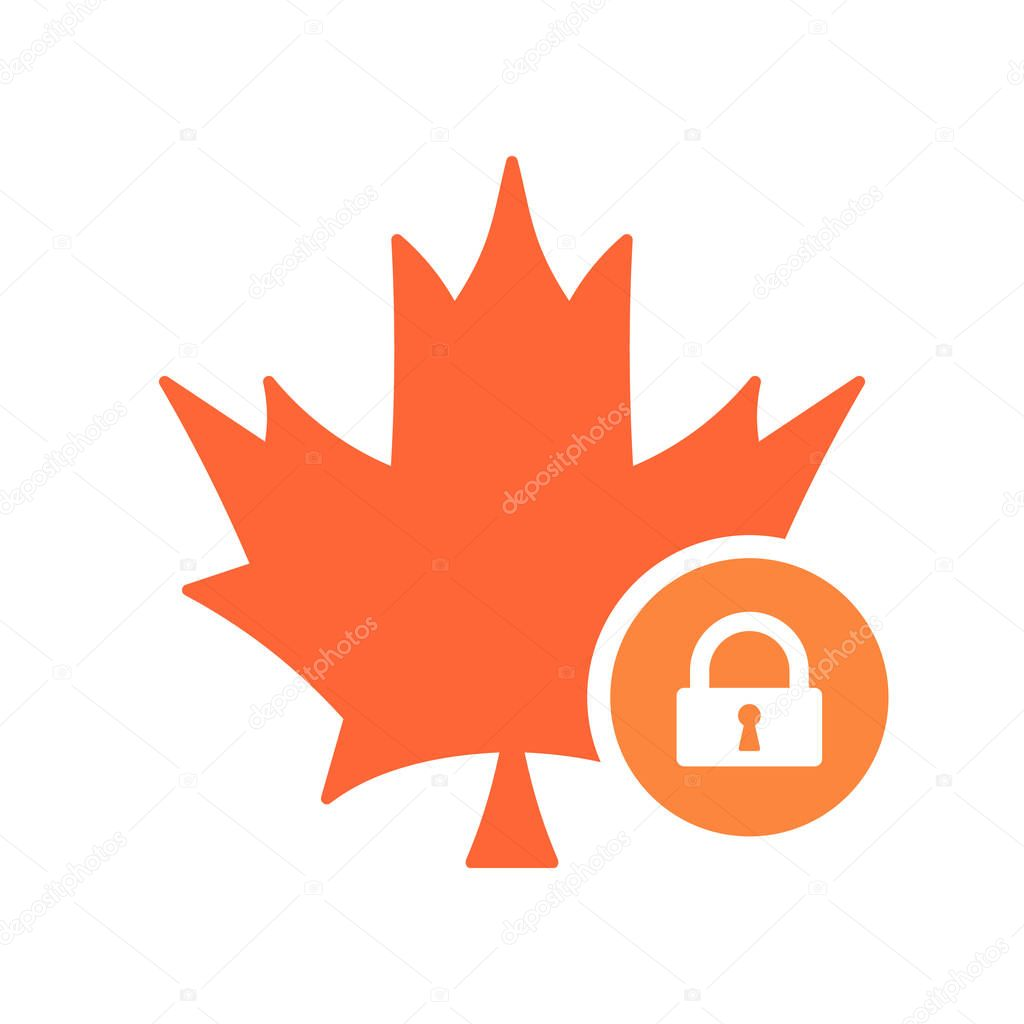 Maple leaf icon, Nature leaves icon with padlock sign. Maple leaf icon and security, protection, privacy symbol