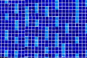 close-up view of dark and light blue decorative tiles background