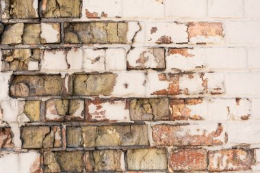 close-up view of old weathered rough brick wall background