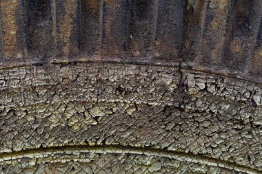 close-up view of old black weathered tyre background