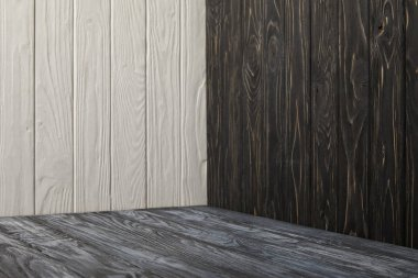 grey wooden floor and wooden walls