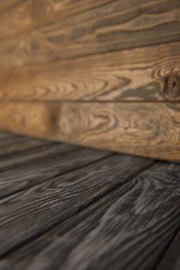 grey wooden floor and brown wooden wall