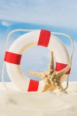 Rettungsring und Seesterne im Sand vor blauem Himmel