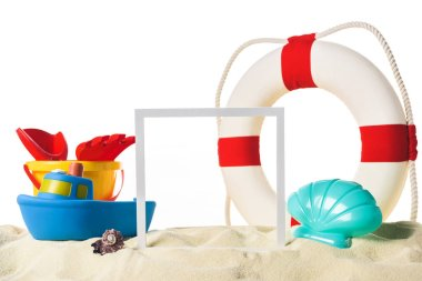 Beach toys with life ring and frame in sand isolated on white stock vector