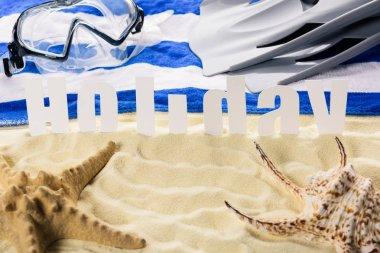 Starfish with seashell and word Holiday on sandy beach
