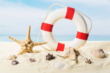 Life ring and seashells in sand on blue sky background