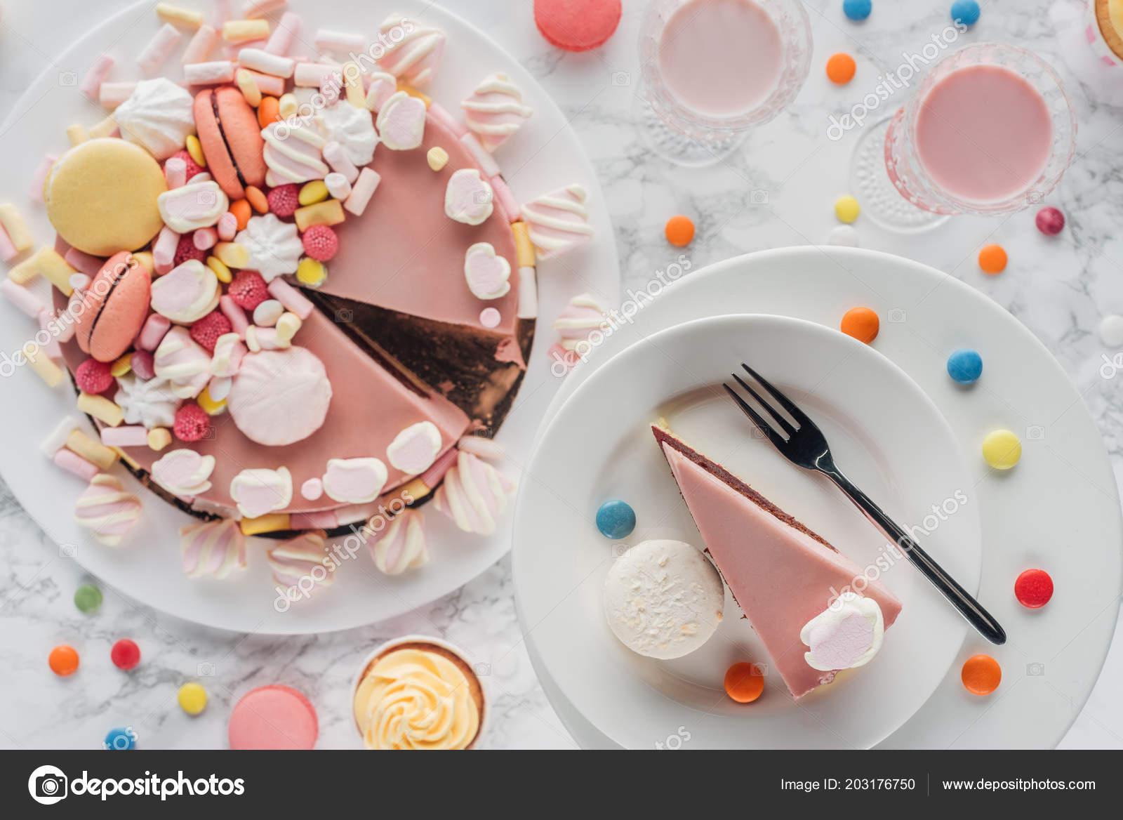 Groovy Top View Birthday Cake Candies Sweet Cupcakes Milkshake Glasses Personalised Birthday Cards Paralily Jamesorg