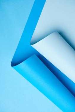 close-up view of bright blue abstract paper background