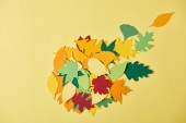 Photo flat lay with colorful papercrafted foliage arranged on yellow background